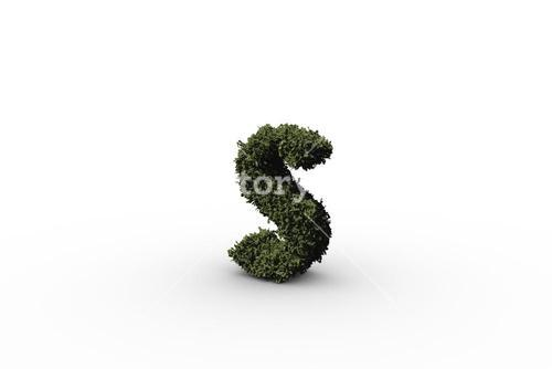 Lower case letter s made of leaves
