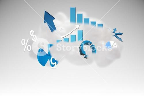 Cloud computing graphic with graphs