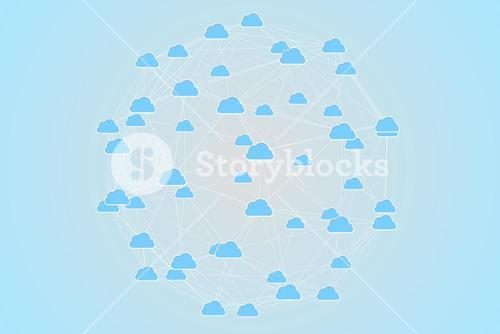 Cloud computing graphic with connecting lines