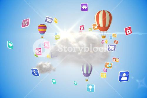 Cloud computing graphic with hot air balloons