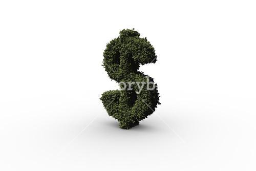 Dollar sign made of leaves