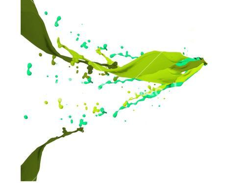 Green paint splashes and drops