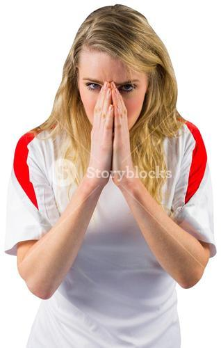Nervous football fan in white