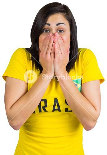 Nervous football fan in brasil tshirt