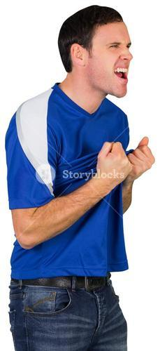Excited football fan in blue