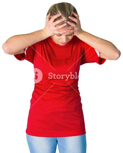 Disappointed football fan in red