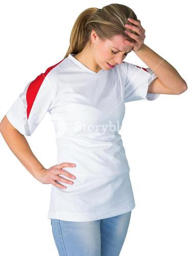 Disappointed football fan in white