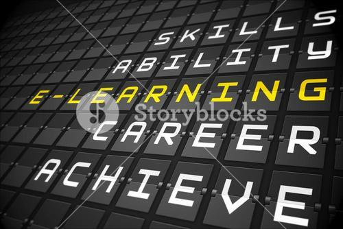 Elearning buzzwords on black mechanical board