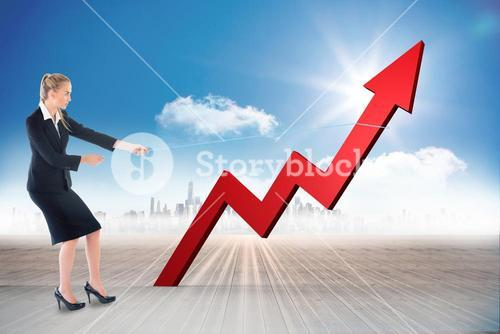 Composite image of businesswoman pulling a rope around arrow