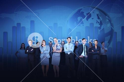 Business team against blue graph background