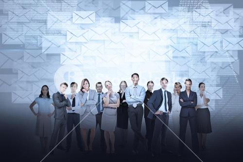 Business team against email background