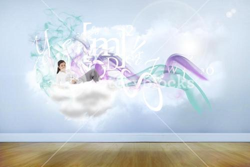 Composite image of relaxed businesswoman lying