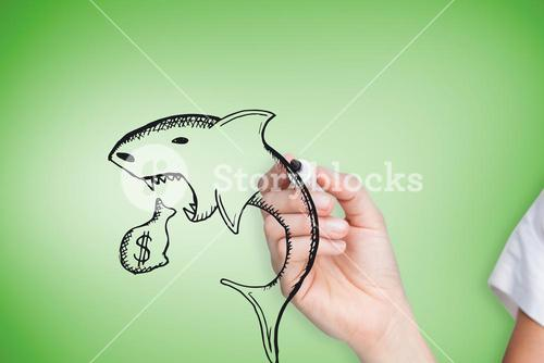 Composite image of businesswoman drawing loan shark