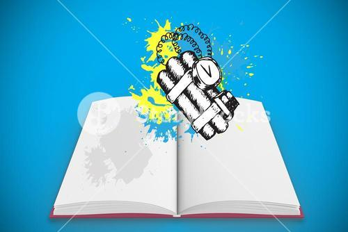 Composite image of dynamite on paint splashes on open book