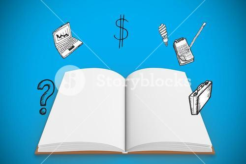 Composite image open book under doodles with business icons