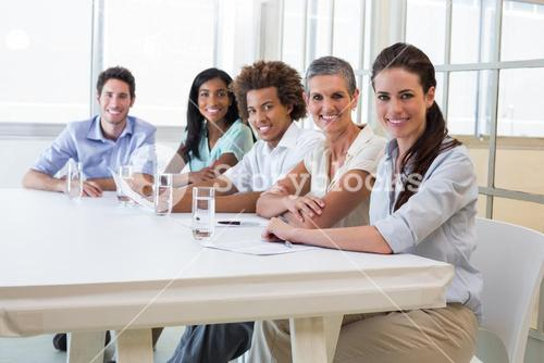 Attractive business people at business meeting