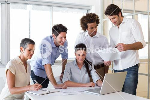 Attractive business people working in the office