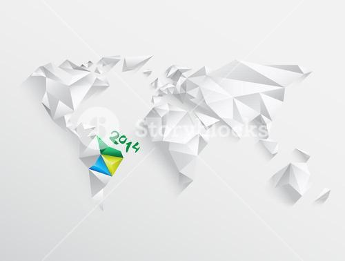 World map with highlighted brazil for 2014