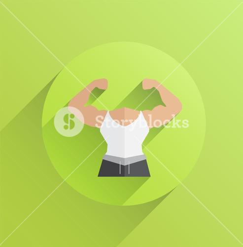Digitally generated body with flexing biceps