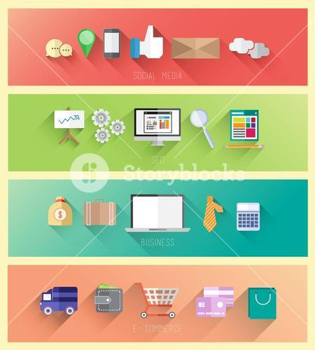 Social media seo business and ecommerce vector