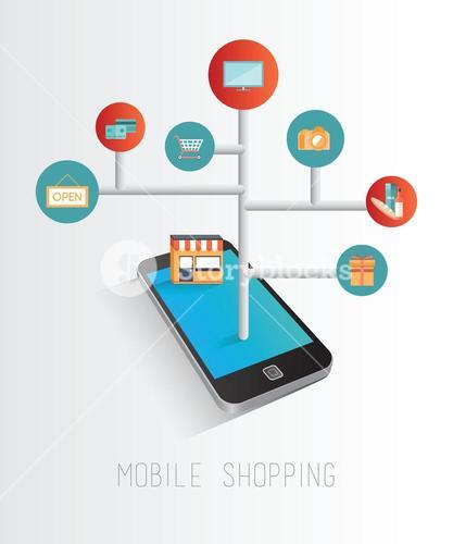 Smartphone accessing online retail concept
