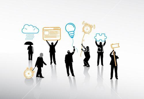 Business people holding various icons on string
