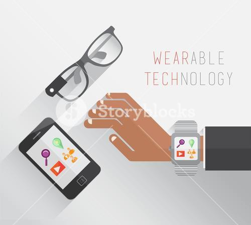 Wearable technology vector with glasses watch and smartphone