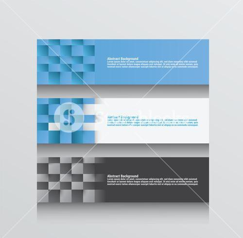 Three abstract background vectors in blue grey and white