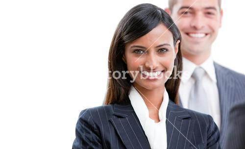 Portrait of two smiling business partners looking at the camera