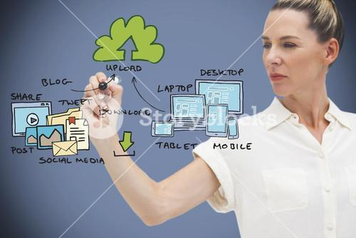 Composite image of businesswoman writing flowchart