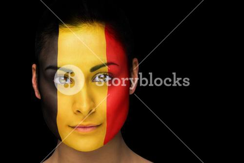 Belgian football fan in face paint
