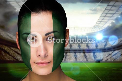 Beautiful nigeria fan in face paint