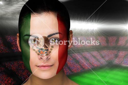 Beautiful mexico fan in face paint