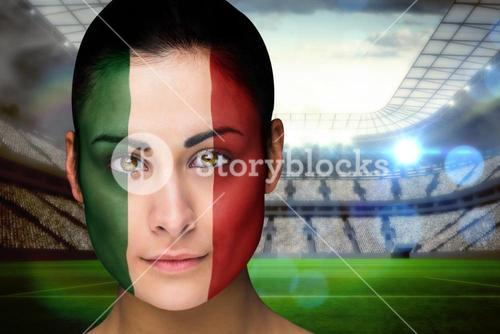 Beautiful italy fan in face paint