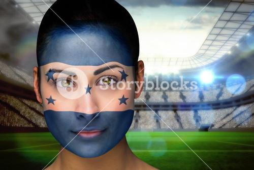 Beautiful honduras fan in face paint