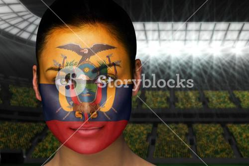Beautiful ecuador fan in face paint