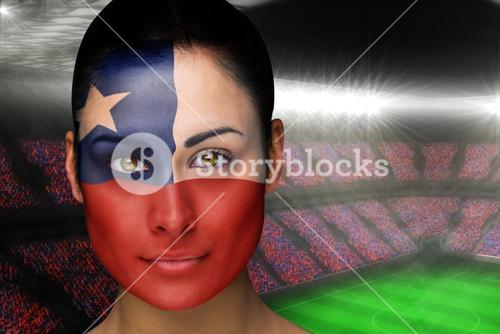Beautiful chile fan in face paint
