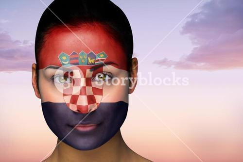 Beautiful brunette in croatia facepaint