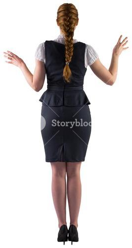 Redhead businesswoman with hands out