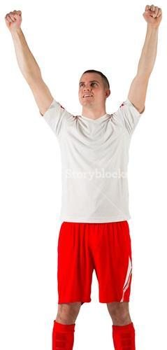 Excited football player cheering