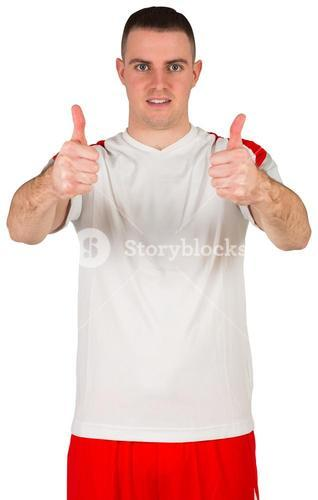 Football player showing thumbs up