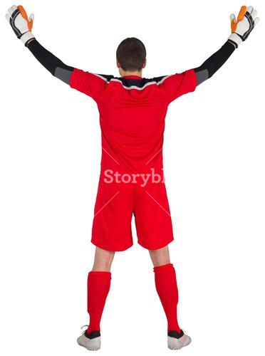 Rear view of goal keeper