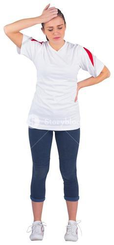 Disappointed football fan in white jersey
