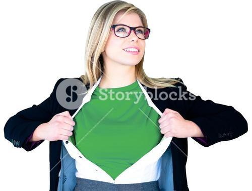 Businesswoman opening shirt in superhero style