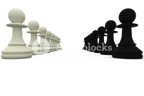 Black and white pawns facing off