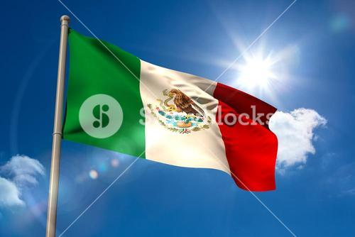 Mexico national flag on flagpole