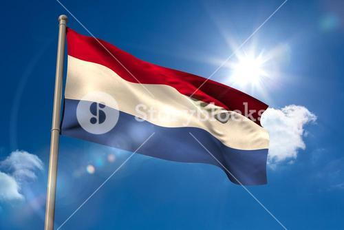 Netherlands national flag on flagpole