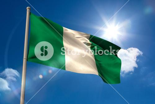 Nigeria national flag on flagpole