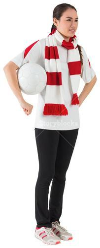 Smiling football fan in white