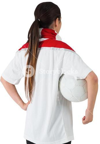 Football fan in white holding ball